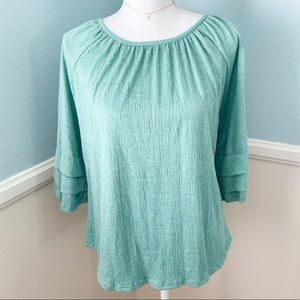 Cable & gauge quarter sleeve top